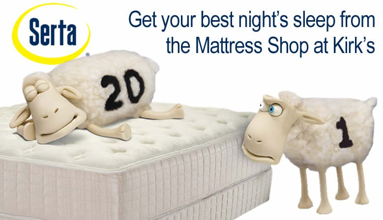 A great night's sleep starts with a new mattress from the Mattress Shop at Kirk's Furniture